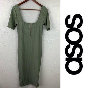 ASOS Moss Green long fitted dress sz 6
